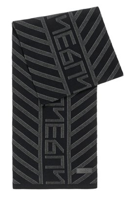 New-season logo scarf with jacquard-knitted pattern, Black