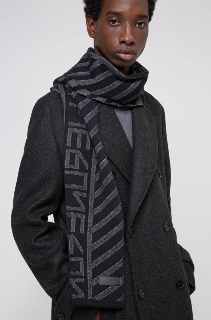 New-season logo scarf with jacquard-knitted pattern