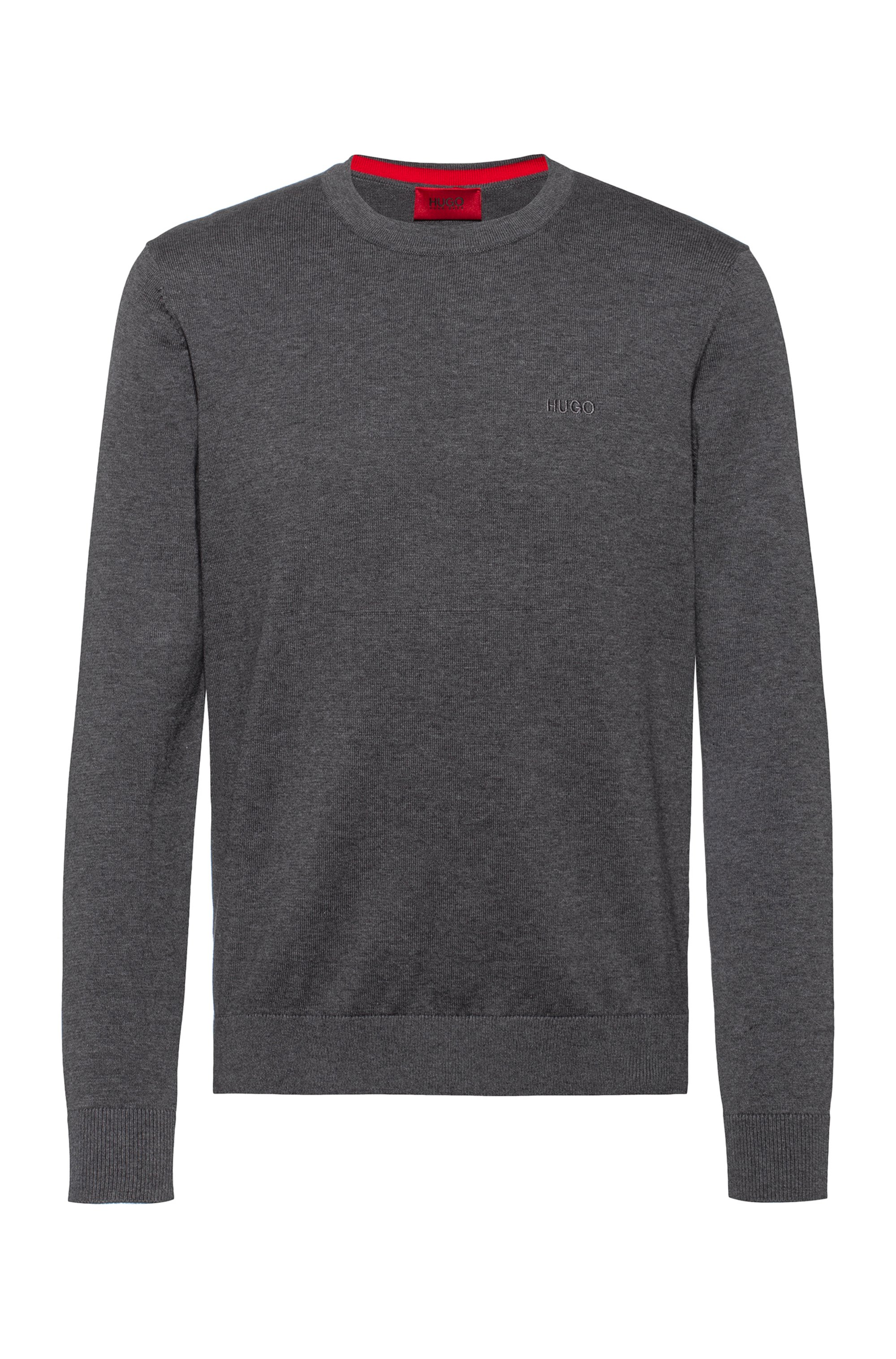 Crew-neck sweater in pure cotton with tonal logo, Dark Grey