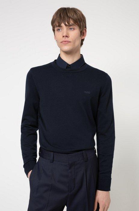 Crew-neck sweater in pure cotton with tonal logo, Dark Blue