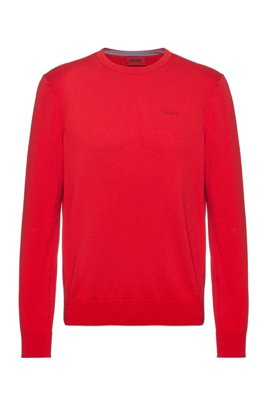 Crew-neck sweater in pure cotton with tonal logo, light pink