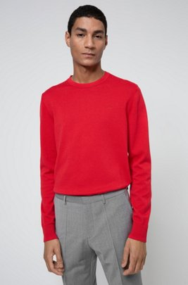 Crew-neck sweater in pure cotton with tonal logo, ライトピンク