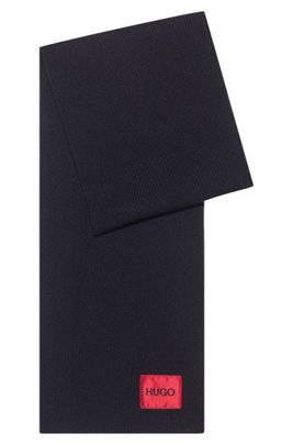 Wool-blend scarf with ribbed structure and logo patch , Dark Blue