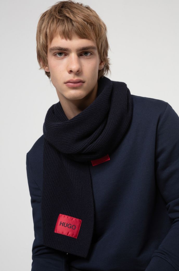 Wool-blend scarf with ribbed structure and logo patch