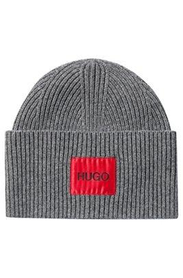 Wool-blend beanie hat with logo patch, Dark Grey