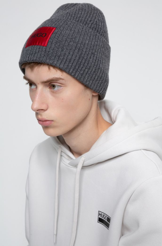 Wool-blend beanie hat with logo patch