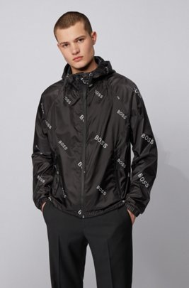 Lightweight windbreaker in lustrous logo-print fabric, Black
