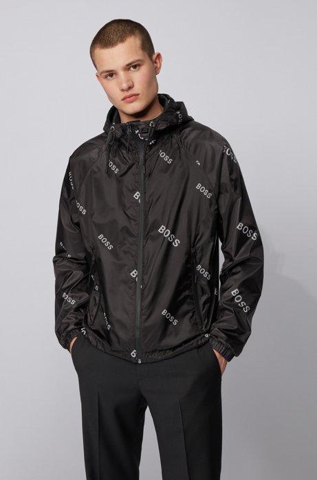 Coupe-vent léger en tissu brillant à logo imprimé, Noir
