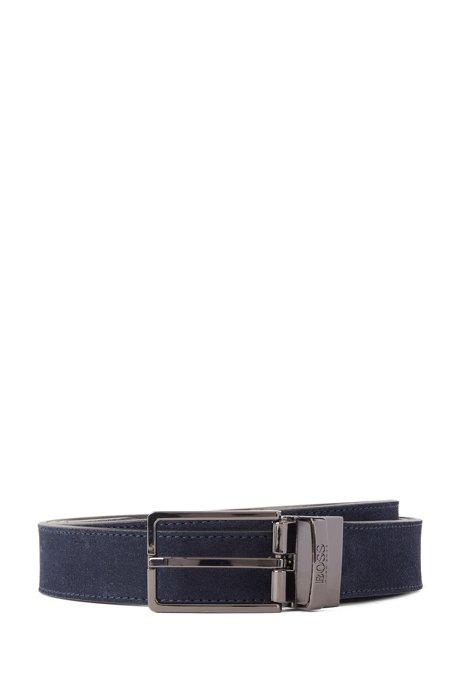 Reversible belt in Italian leather, Dark Blue