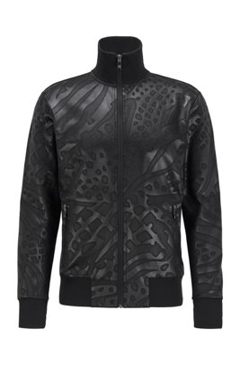 Zip-through sweatshirt with all-over embossing, Black