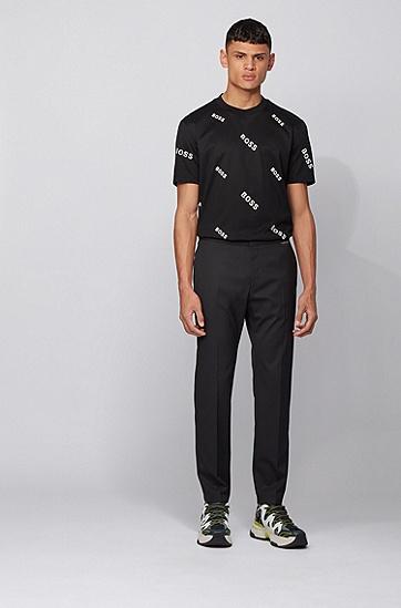 通体徽标印花棉质平针织面料 T 恤,  001_黑色