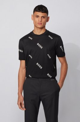 Cotton jersey T-shirt with all-over logo print, Black