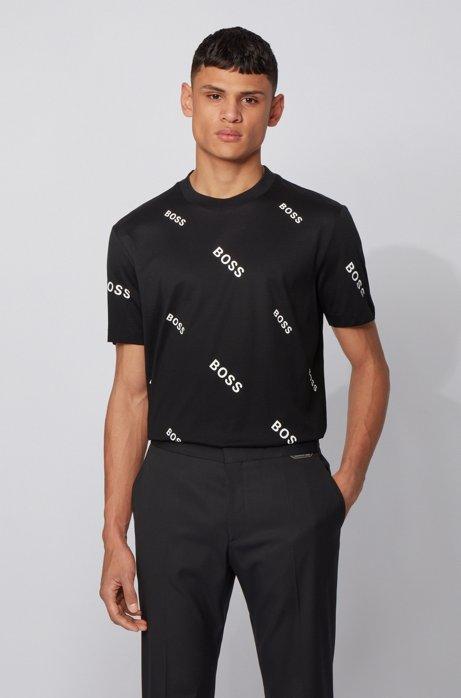 T-shirt in jersey di cotone con logo stampato all-over, Nero