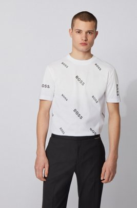 Cotton jersey T-shirt with all-over logo print, ホワイト
