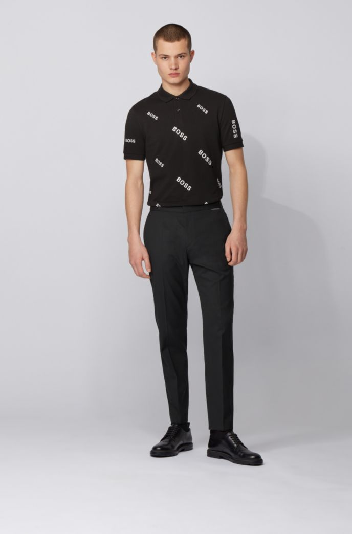 Slim-fit polo shirt with all-over logos
