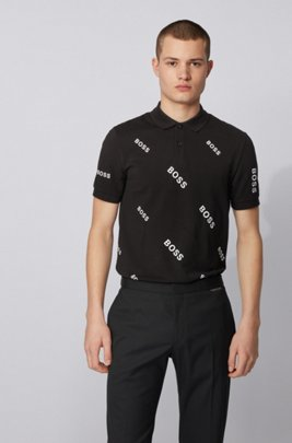 Slim-fit polo shirt with all-over logos, Black