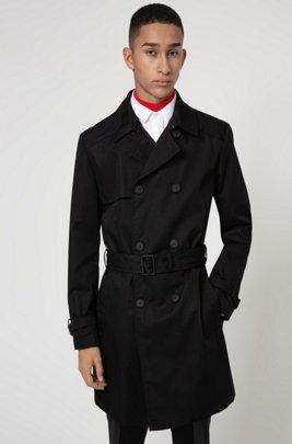 Slim-fit trench coat in water-repellent fabric, Black