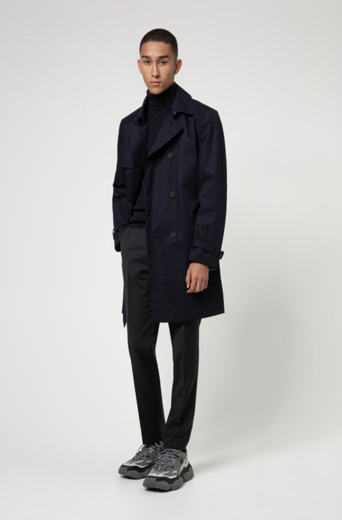 Slim-fit trench coat in water-repellent fabric