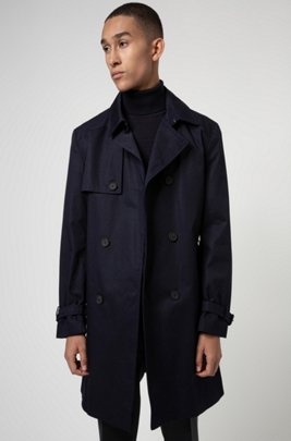 Slim-fit trench coat in water-repellent fabric, Dark Blue