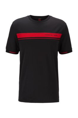 T-Shirt aus Baumwolle mit Rundhalsausschnitt und exklusivem Print, Schwarz