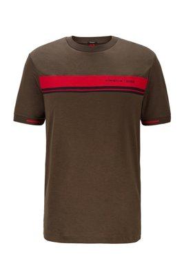 T-Shirt aus Baumwolle mit Rundhalsausschnitt und exklusivem Print, Hellgrün