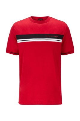 Crew-neck T-shirt in cotton with exclusive print, Light Red