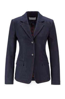 Stretch-denim jacket with notch lapels and flap pockets, Dark Blue