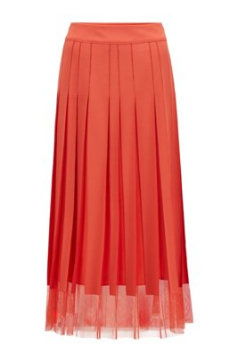 Tulle-fabric plissé skirt with stitched stripes, Dark Orange