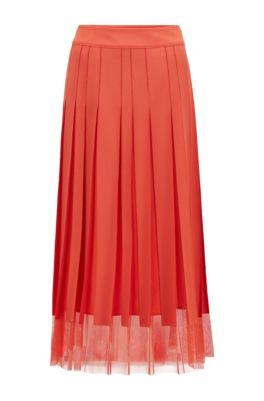 Tulle-fabric plissé skirt with stitched stripes, Dark Orange