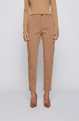 Regular-fit cropped chinos in stretch cotton, Light Brown