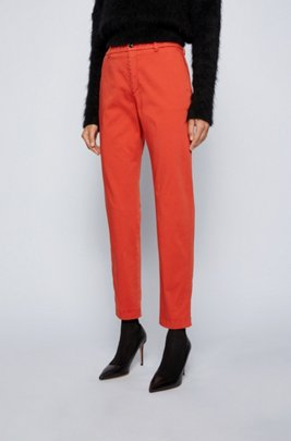 Regular-fit cropped chinos in stretch cotton, Dark Orange