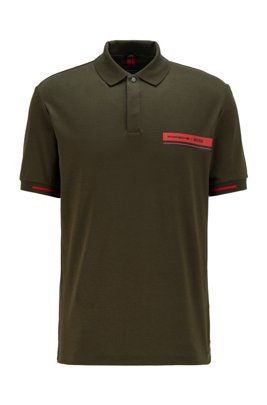 Slim-fit polo shirt in mercerised cotton, Light Green