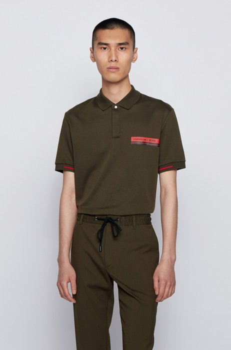 Slim-fit polo shirt in mercerised cotton, Light Green