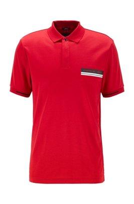 Polo slim fit en algodón mercerizado, Rojo claro