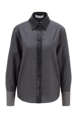 Regular-fit blouse van scheerwol met decoratie van imitatieleer, Grijs