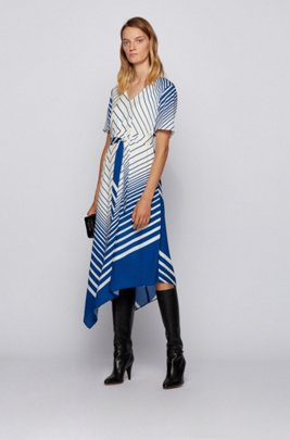 Asymmetric-hem dress in crepe georgette with foulard print, Patterned