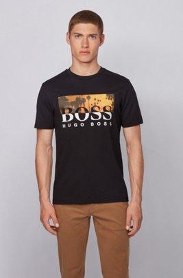 T-shirt entièrement recyclable à logo imprimé bicolore, Noir