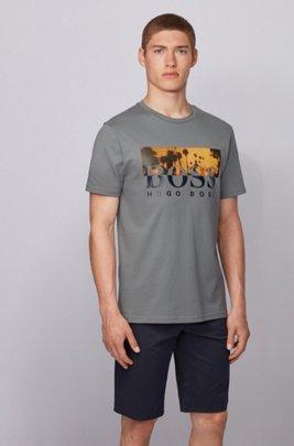 T-shirt entièrement recyclable à logo imprimé bicolore, Gris