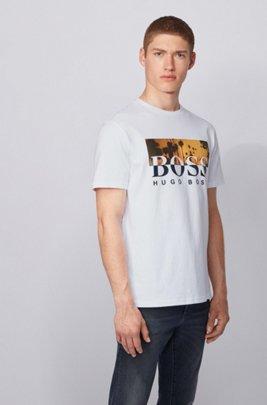 T-shirt entièrement recyclable à logo imprimé bicolore, Blanc