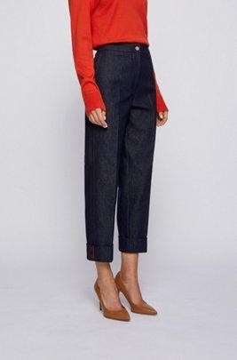 Relaxed-fit cuffed trousers in stretch denim, Dark Blue
