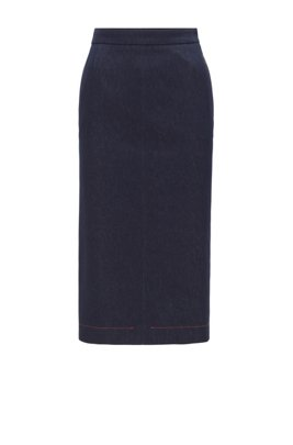 Denim-look pencil skirt with contrast stitching, Dark Blue