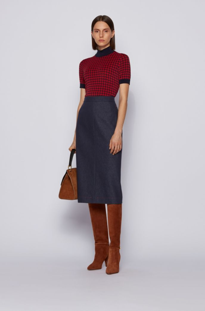 Denim-look pencil skirt with contrast stitching