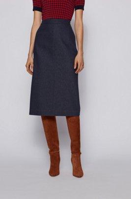 Denim-look pencil skirt with contrast stitching, Dark Blue