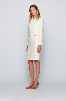 Sleeveless shift dress in double-faced Portuguese stretch fabric, White