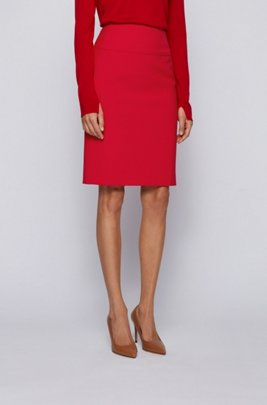 Regular-rise pencil skirt in double-faced stretch fabric, Red