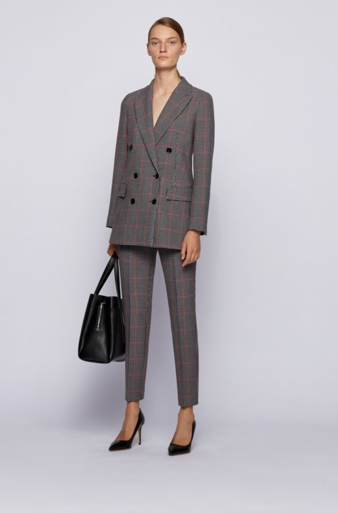 Double-breasted relaxed-fit jacket with multicoloured check