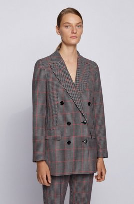 Double-breasted relaxed-fit jacket with multicoloured check, Patterned