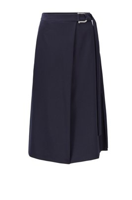 Maxi skirt in stretch wool with new-season hardware, Dark Blue