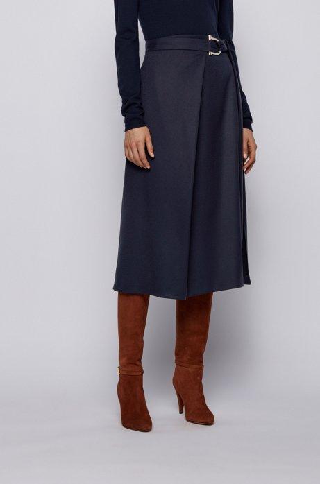 Gonna lunga in lana elasticizzata con dettaglio in metallo della nuova stagione, Celeste