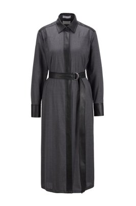 Robe-chemise en laine traçable avec détails en similicuir, Gris